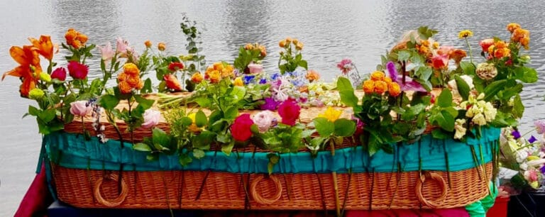 Bloemenband rouwstuk
