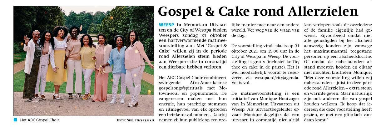 Weespernieuws Gospel & Cake Allerzielen
